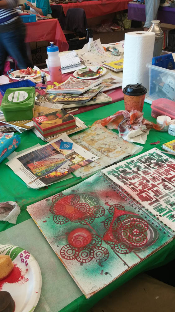 Visual journaling with rocky mountain creative quilters-5